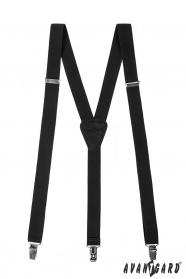Čierne traky s čiernou kožou a zapínaním na klipy