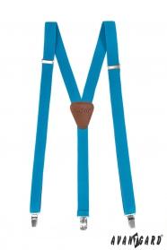 Traky Y s koženým stredom na klipy - 25 mm - Tyrkysová, tmavo hnedá koža