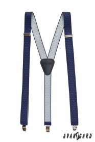 Modré pánske traky biela bodka - na klipy