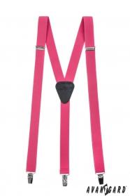Ružové traky s čiernou kožou a zapínaním na klipy