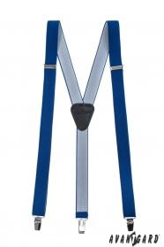Úzke traky s koženým stredom zapínaním na klipy, kráľovská modrá