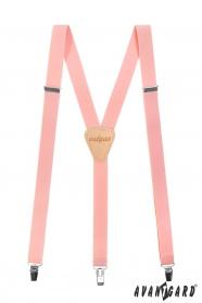 Traky Y s koženým stredom a  zapínáním na klipy - 25 mm - Svetlo ružová, béžová koža