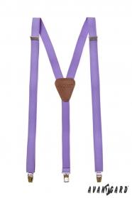 Pánske traky lila s hnedou kožou a zapínaním na kovové klipy