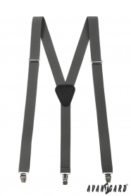 Grafitovo šedé traky s čiernou kožou a zapínaním na kovové klipy