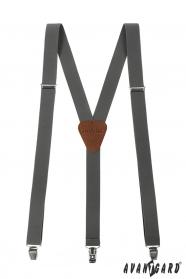 Grafitovo šedé pánske traky s hnedou kožou a kovovými klipy