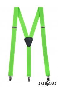Traky s koženým stredom zapínaním na klipy, zelená neón