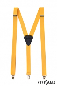 Traky Y žltej farby s koženým stredom zapínanie na klipy