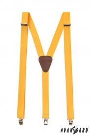 Žlté pánske traky s hnedou kožou a zapínaním na kovové klipy