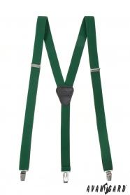 Smaragdovo zelené pánske traky na kovové klipy