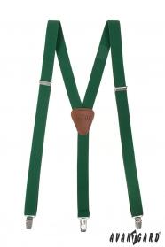 Smaragdovo zelené traky s hnedou kožou a zapínaním na klipy