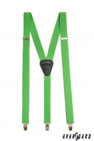Zelené traky Y s koženým stredom zapínaním na klipy