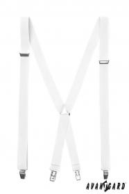 Biele pánske traky s kovovými sponami