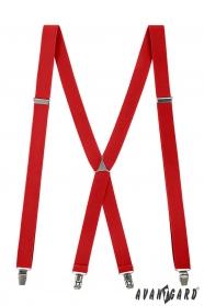 Červené traky s kovovým stredom a zapínaním na klipy