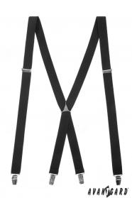 Čierne traky X s kovovým stredom a zapínaním na klipy
