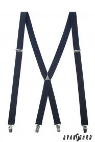 Traky tmavo modré s kovovým stredom a zapínaním na klipy