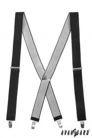 Čierne traky s kovovým stredom a zapínaním na klipy