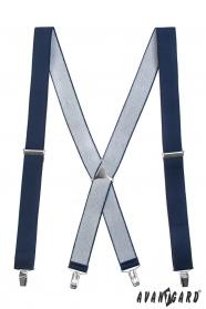 Tmavo modré traky s kovovým stredom a zapínaním na klipy