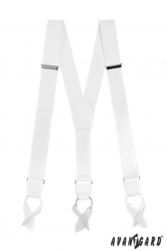 Snehovo biele traky s bielou kožou a koženými pútkami