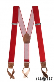 Červené pánské traky s koženými pútkami