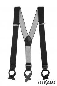 Pánske traky s koženými pútkami čierne