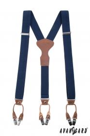 Luxusné modré traky tvaru Y na klipy darčekové balenie