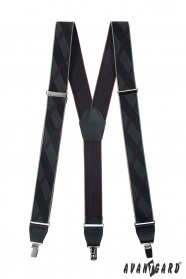 Čierne vzorované pánske traky s kovovými klipmi