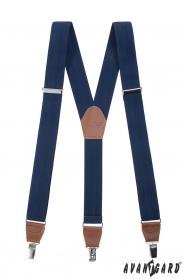 Modré traky Y s koženým stredom a zapínaním na klipy - plastické čiarky