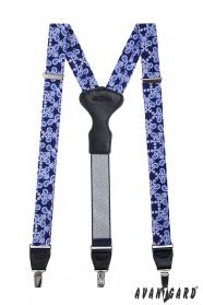 Modré vzorované traky, kožený stred zapínanie na klipy - 34 mm