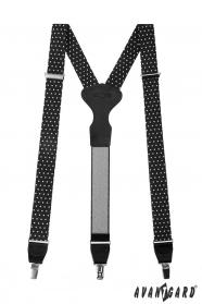 Čierne látkové traky s bielymi bodkami, čiernou kožou a zapínaním na kovové klipy