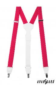 Červeno-biele bodkované traky s bielou kožou a kovovými klipy