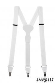 Biele štruktúrované traky s bielou kožou a zapínaním na kovové klipy