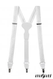 Biele vzorované látkové traky s bielou kožou a zapínaním na kovové klipy