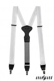 Biele traky na klipsy strieborné štvorčeky
