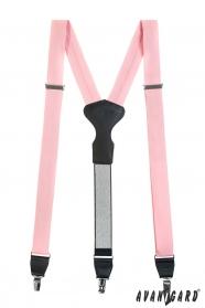 Ružové látkové traky s koženým stredom a zapínaním na klipy v darčekovom balení
