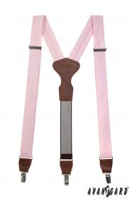 Ružové látkové traky Y s koženým stredom a zapínaním na klipy - tmavo hnedá koža