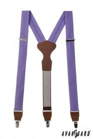 Látkové traky vo farbe lila s hnedou kožou a zapínaním na kovové klipy
