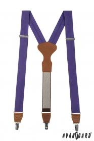 Látkové fialové traky Y s koženým stredom, tmavo hnedá koža
