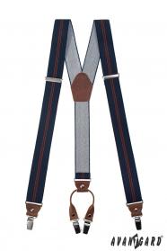 Tmavo modré traky s pruhom, hnedou kožou a zapínaním na kovové klipy