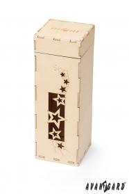 Drevená darčeková krabička s hviezdičkami
