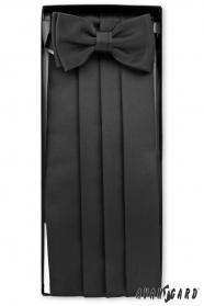 Černý frakový pás s motýlikom a vreckovkou