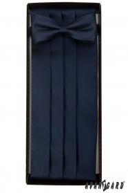 Tmavo modrý smokingový pás s motýlikom a vreckovkou