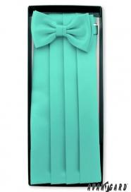 Smokingové pás s motýlikom a vreckovkou mätovej farby