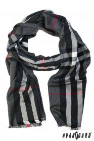 Pánsky šál šedý s červenou a bielou