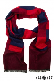 Pánsky šál s červeno-modrým vzorom