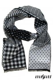 Čierno-sivý šál s rôznymi vzormi
