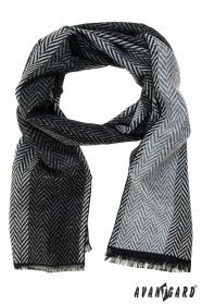 Čierno-sivý šál s kľukatým vzorom
