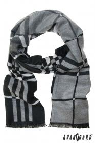 Čierno-sivý šál s prúžkami