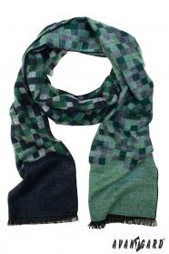 Modro-zelený kockovaný šál
