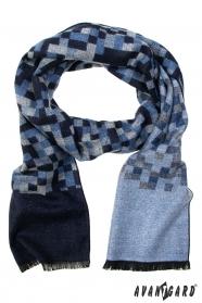 Šál s modro-šedým kockovaným vzorom
