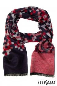 Červeno-modrý kockovaný šál